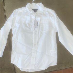 Toddler boys 5T button down white shirt NWT